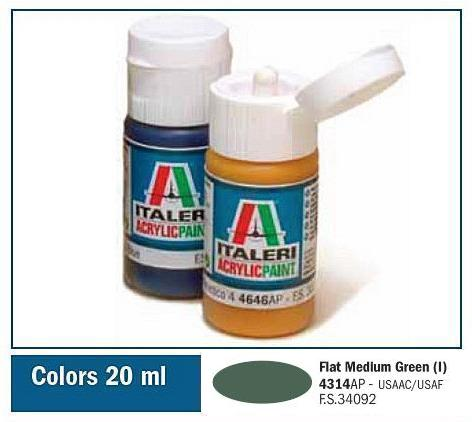 Italeri-4314 AP  acryl - FLAT MEDIUM GREEN  (I)