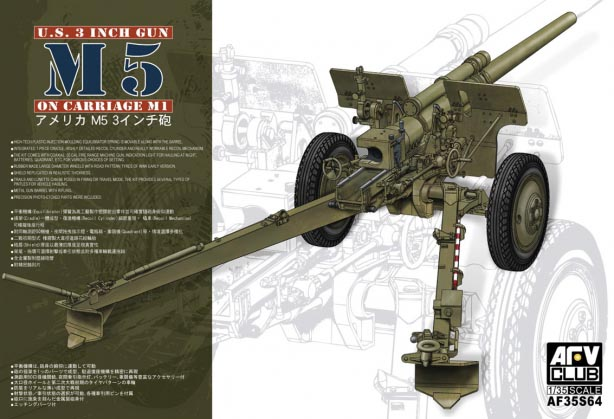 AFV CLUB-35S64  skala 1:35 U.S. 3 Inch Gun M5 On Carriage M1