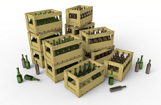 MiniArt-35571  WINE BOTTLES & WOODEN CRATES